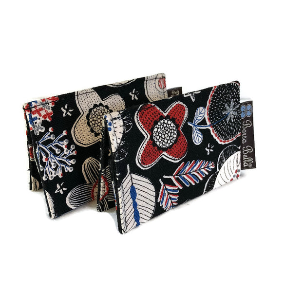 Card Holder RFID Protected - Doodle Flower Canvas Black Fabric