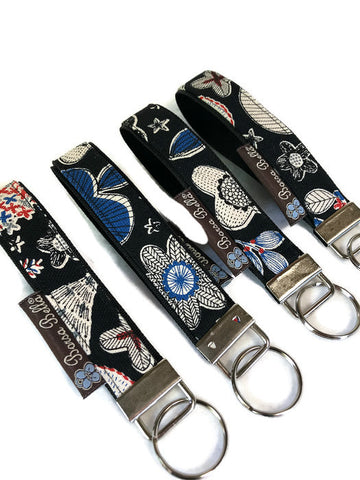 Keychain Wristlets -   Doodle Canvas Black Fabric