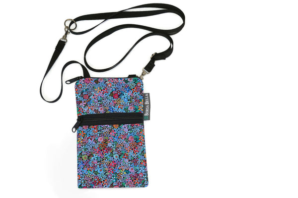 Short Zip Phone Bag - Wristlet Converts to Cross Body Purse - Mini Wild Flowers Fabric