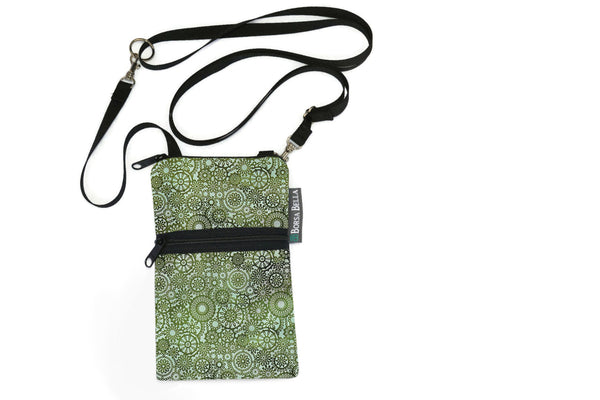 Short Zip Phone Bag - Wristlet Converts to Cross Body Purse - Green Lace Fabric