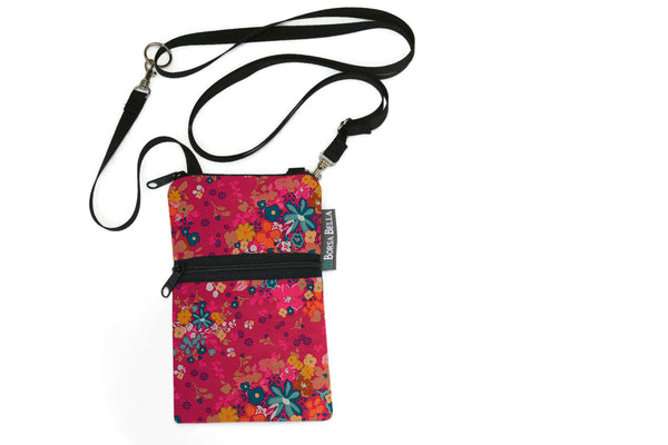 Short Zip Phone Bag - Wristlet Converts to Cross Body Purse - Winter Pink Fabric