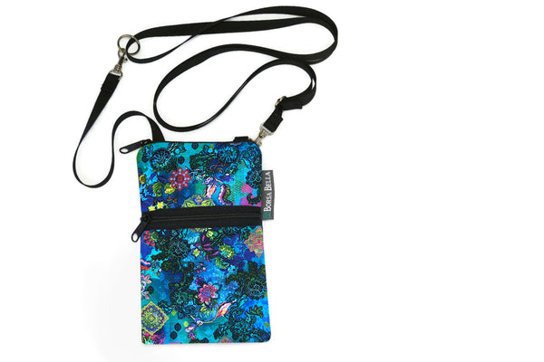 Short Zip Phone Bag - Wristlet Converts to Cross Body Purse - Night Glow Fabric