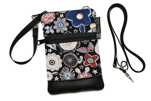 Short Zip Phone Bag - Wristlet Converts to Cross Body Purse - Doodle Blooms Black Fabric