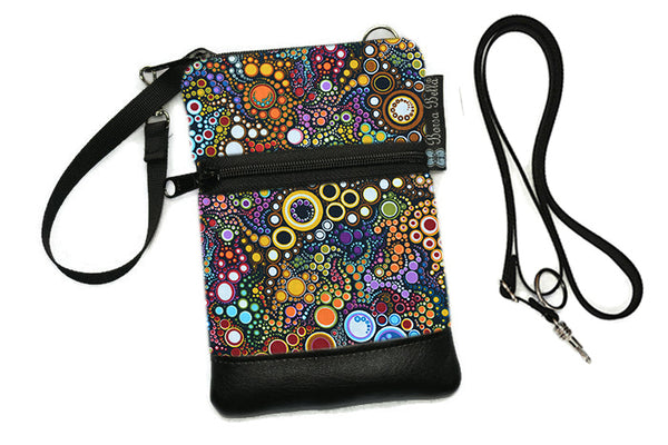 Short Zip Phone Bag - Wristlet Converts to Cross Body Purse - Happy Fabric