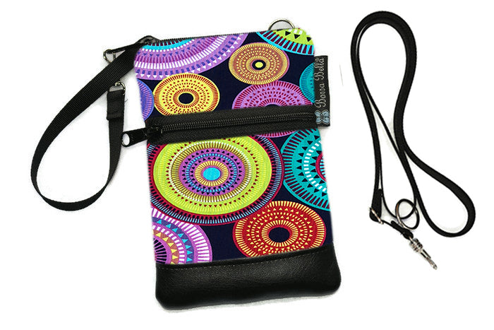 Short Zip Phone Bag - Wristlet Converts to Cross Body Purse - Northern Lights Fabric
