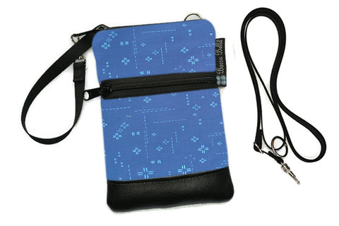 Short Zip Phone Bag - Wristlet Converts to Cross Body Purse - Bright Blue Crosshatch Fabric