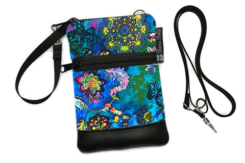 Short Zip Phone Bag - Wristlet Converts to Cross Body Purse - 3 Wishes Fabric