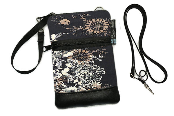 Short Zip Phone Bag - Wristlet Converts to Cross Body Purse - Black Beauty Fabric