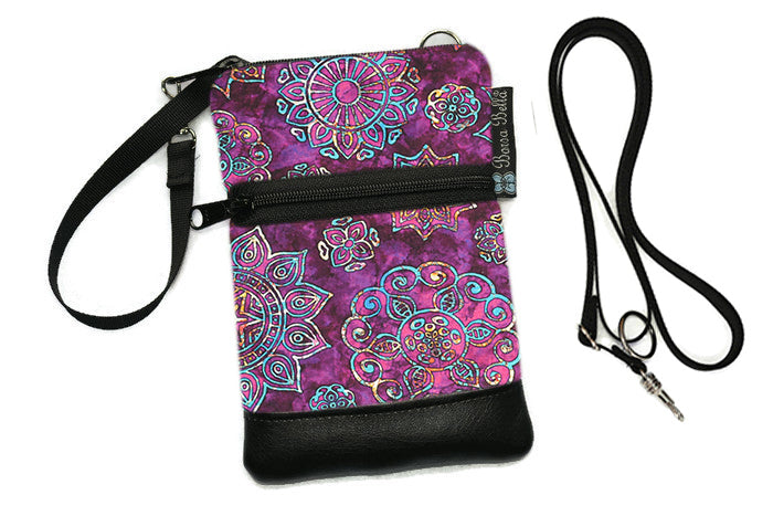 Short Zip Phone Bag - Wristlet Converts to Cross Body Purse - Blissful Garden Fabric
