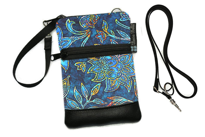 Short Zip Phone Bag - Wristlet Converts to Cross Body Purse - Electric Blue Fabric