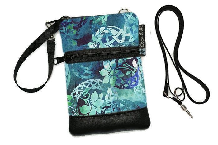 Short Zip Phone Bag - Wristlet Converts to Cross Body Purse - Emerald City Fabric
