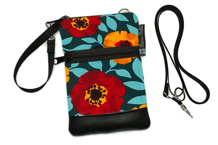 Short Zip Phone Bag - Wristlet Converts to Cross Body Purse - Poppy Love Canvas Fabric