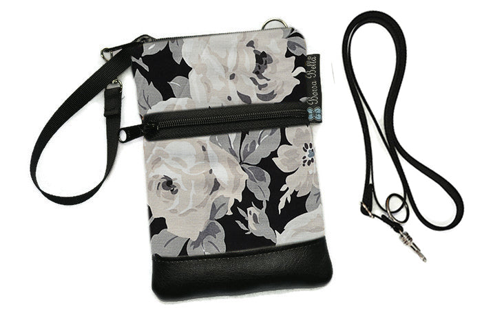 Short Zip Phone Bag - Wristlet Converts to Cross Body Purse - Sugar Rose Fabric