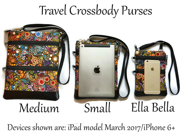 Travel Bags Crossbody Purse - Cross Body - Faux Leather - Tablet Purse -  Green Meadows Fabric
