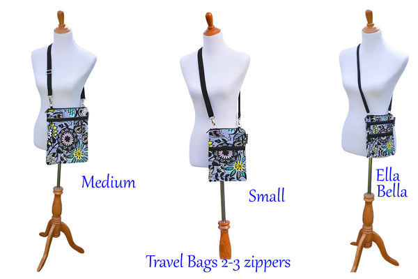 Travel Bags Crossbody Purse - Cross Body - Faux Leather - Tablet Purse - Bella Blossoms Fabric