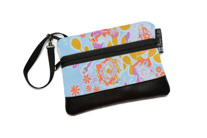 Clearance Long Zip Phone Bag - Faux Leather Accent - Cross Body Option -  Blue and Orange Fabric