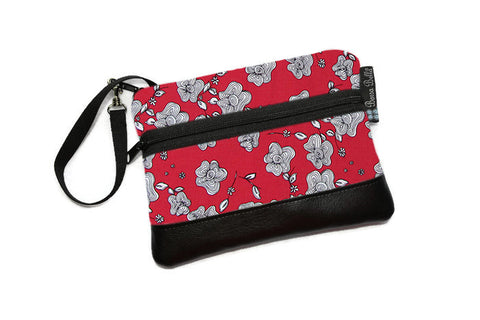 Clearance Long Zip Phone Bag - Faux Leather Accent - Cross Body Option -  Red and White Rose Fabric