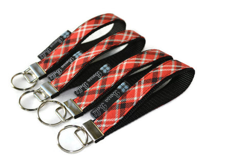 Keychain Wristlets - Red Plaid Fabric