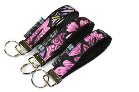Keychain Wristlets -  Purple Passion Fabric