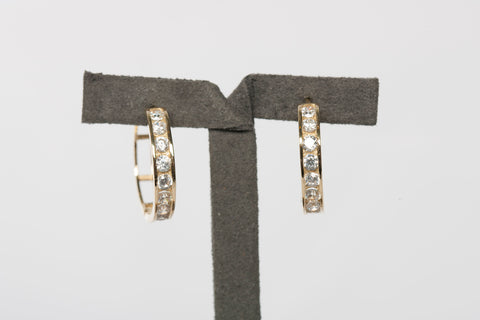 10K Yellow Gold CZ Hoop Earrings