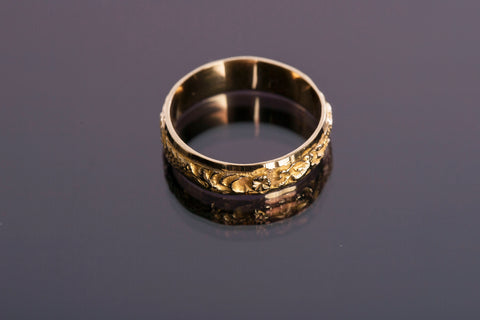 18K Yellow Gold Eternity Textured Design Band 4.5mm