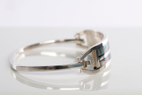 Vintage Sterling Silver and Inlay Abalone Bangle Bracelet