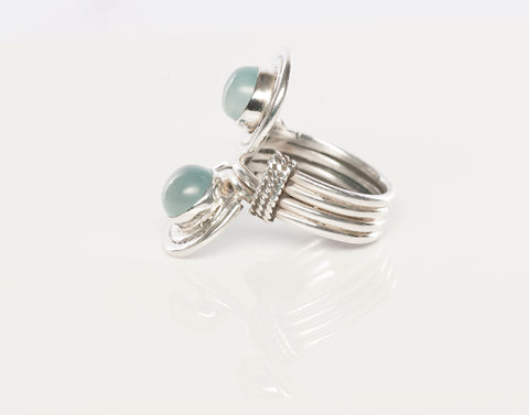 Sterling Silver Teal Cabochon Stone Ring