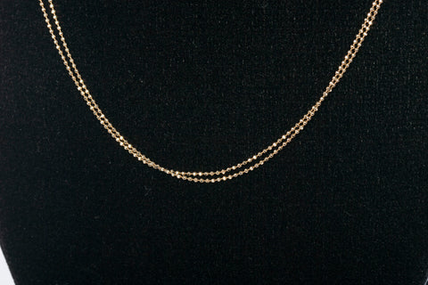 Trendy 14K Gold Beaded 2-Strand Layered Chain