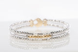 14k Two-Tone Diamond Cut Beaded Bracelet