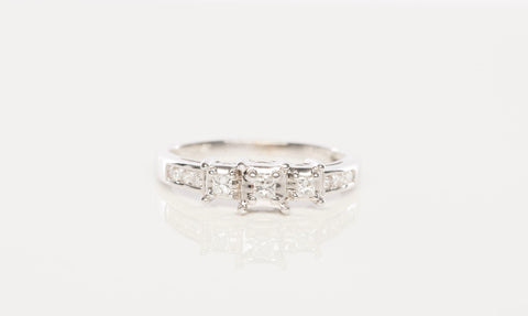 14K White Gold 3-Stone Diamond Engagement Ring