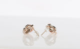 14k Tri-Tone Interlocking Circle Stud Earrings