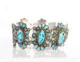 Vintage Sterling Silver and Turquoise Colored Glass Bracelet