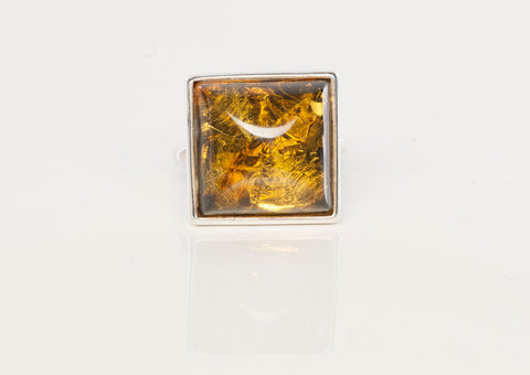 Sterling Silver and Synthetic Amber Fashion Ring
