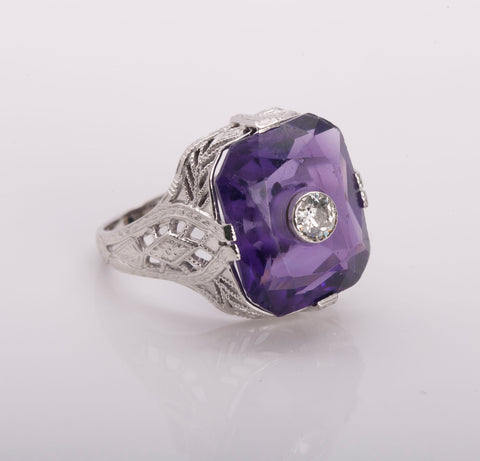 Art Deco Striking Amethyst Diamond Ring 14k White Gold Size 5.5