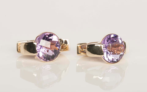 Gorgeous 14K Yellow Gold and Amethyst Hoop Earrings