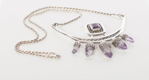 Statement Sterling Silver and Amethyst Necklace