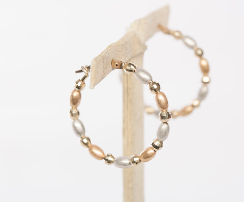 14K Yellow and White Gold Beaded Hoop Earrings