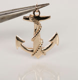 14K Yellow Gold Anchor Pendant
