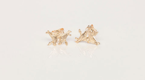 14K Yellow Gold Bird Stud Earrings