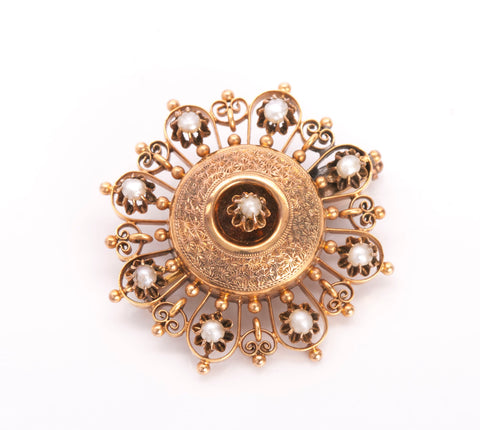 Antique 8k Yellow Gold Victorian Pearl Brooch