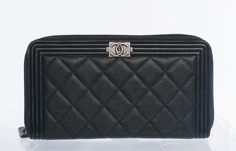 Authentic Chanel Yen Boy Zip Wallet Large