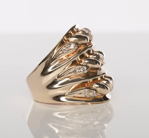 Unique 14k Yellow Gold Braided Diamond Cocktail Ring
