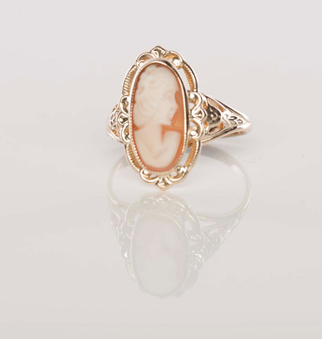 Gorgeous Vintage 10K Tri-Tone Ladies Cameo Ring SIGNED