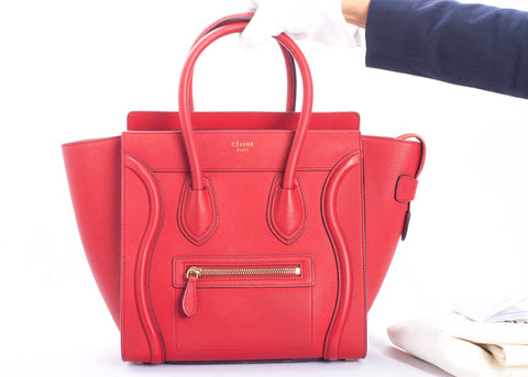 Authentic CELINE Micro Luggage Red Leather Tote Handbag