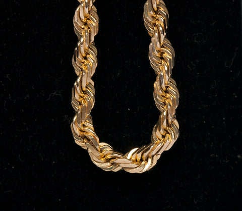 "14k Yellow Gold Men's Rope 21"" Chain Necklace"