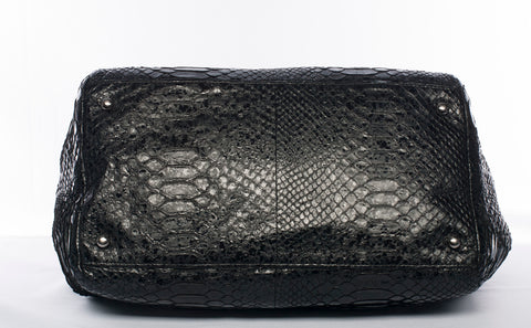 Authentic CHANEL Python Leather Accordion Chain Tote Shoulder Bag