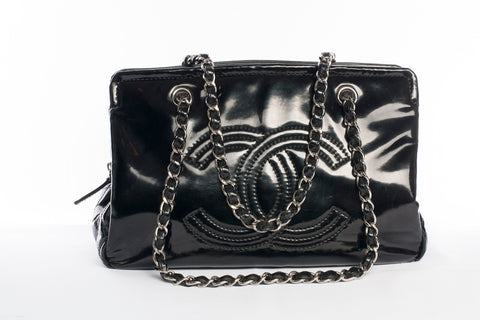 Chanel Black Patent Leather CC Lipstick Tote Bag