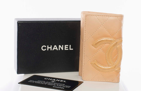 Authentic CHANEL Cambon CC Logo Leather Key Holder