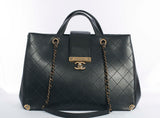 Authentic CHANEL Black Quilted Leather 2-Way Chain Handbag