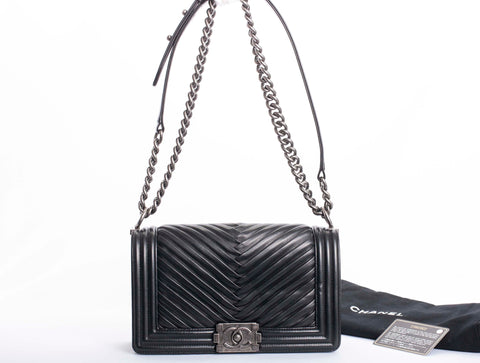 Auth Chanel Small Pleated Lambskin Le Boy Shoulder Bag